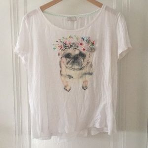 Anthropologie Dog Tee with Appliqué and Embroidery